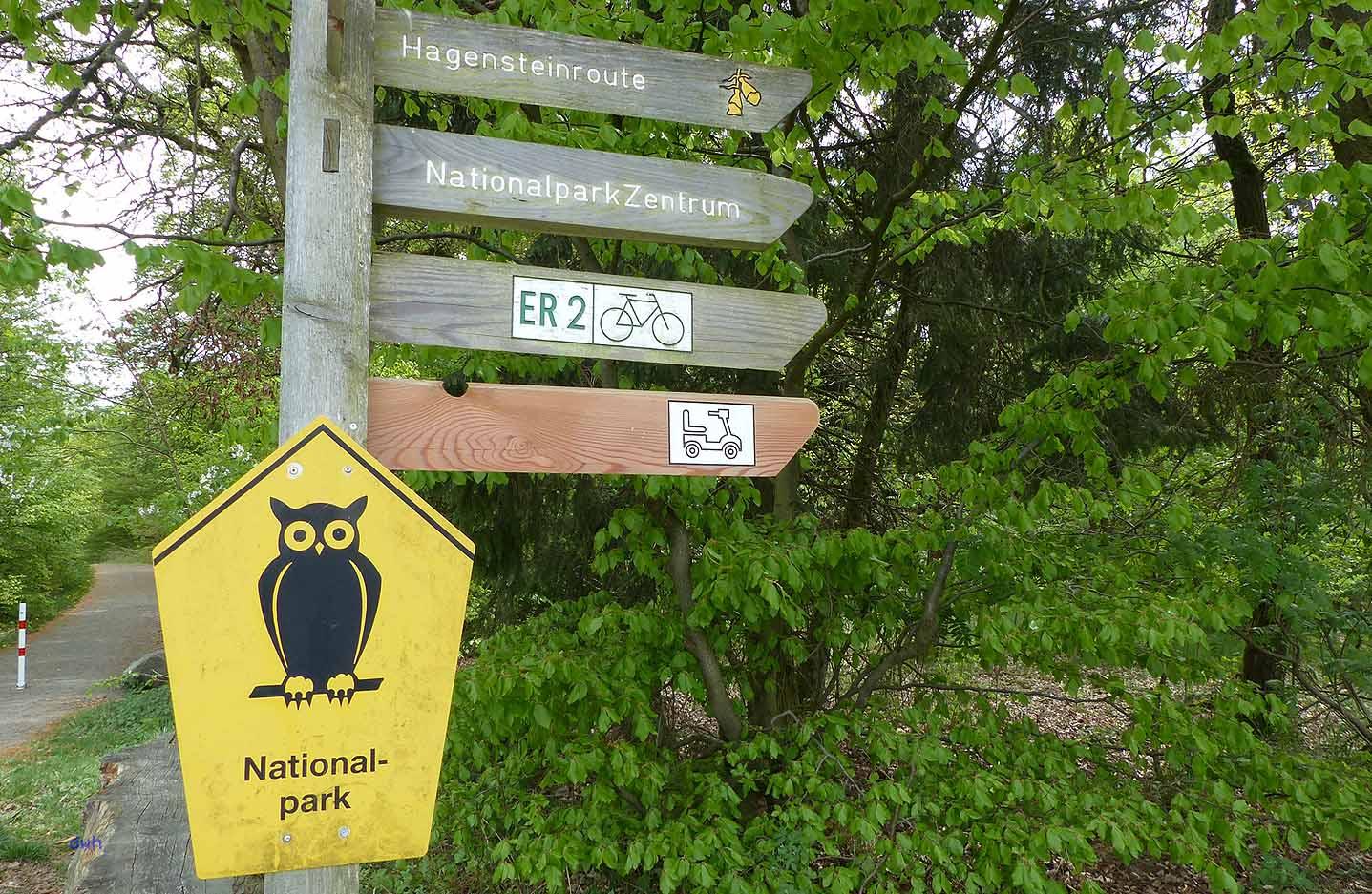 Gut ausgeschilder sind die Wege im Nationalpark Kellerwald - Edersee