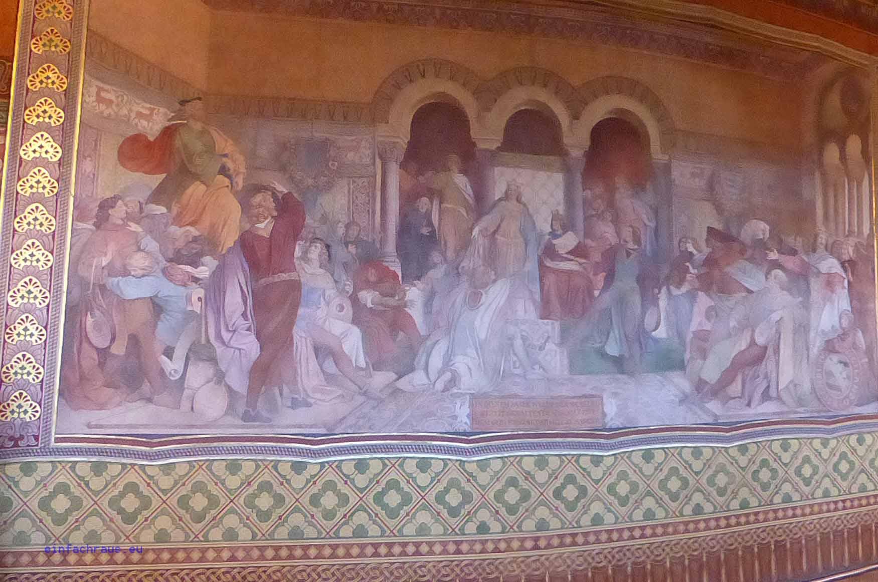 Der Sängerkrieg auf der Wartburg, Fresko von Moritz von Schwindt im Palas der Wartburg
