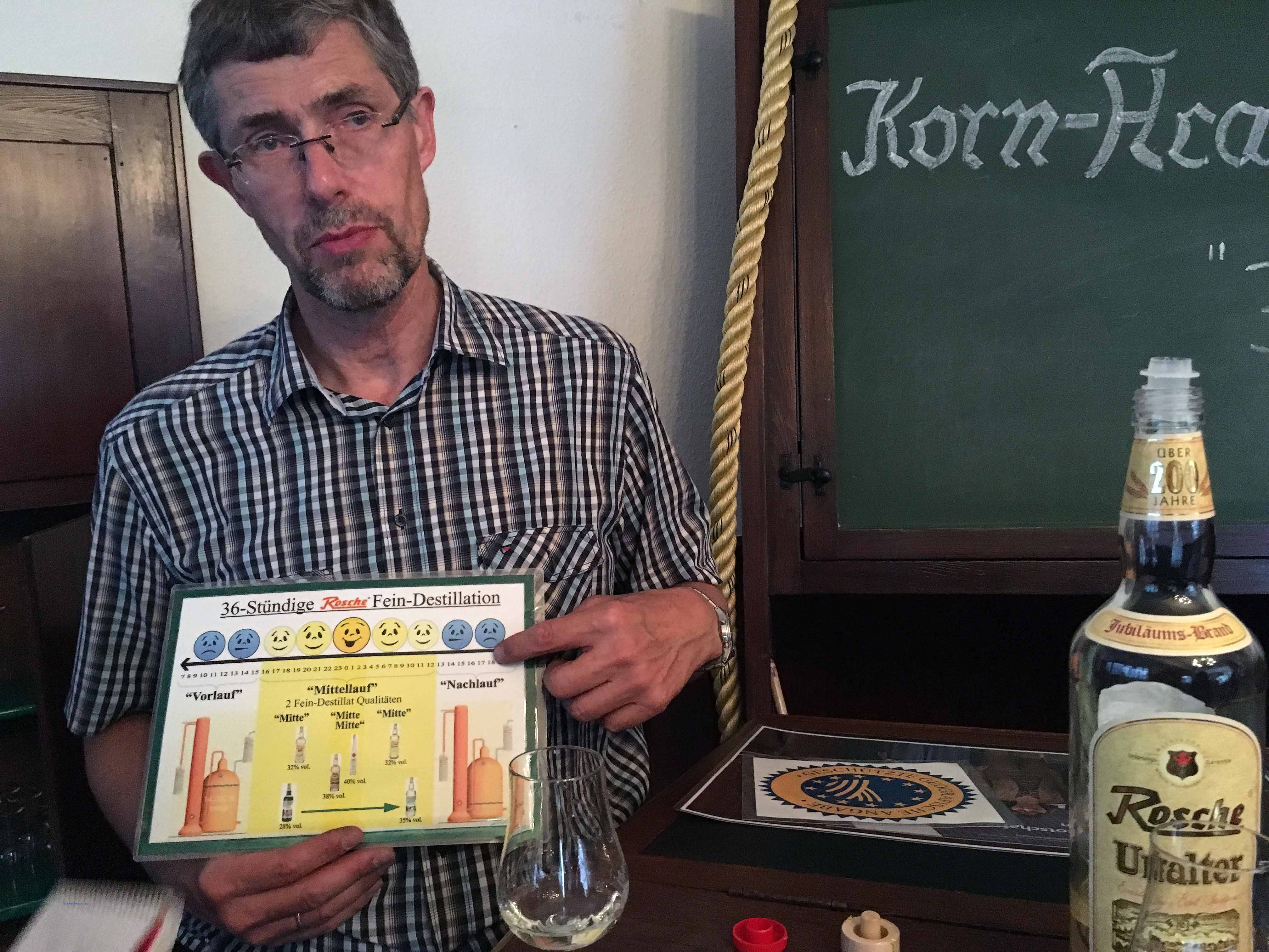 """Besuch bei der Edelkorn-Brennerei Jos. Rosche mit Einblick in die """"Korn-Academie"""" im Gespräch mit Josef Rosche"""