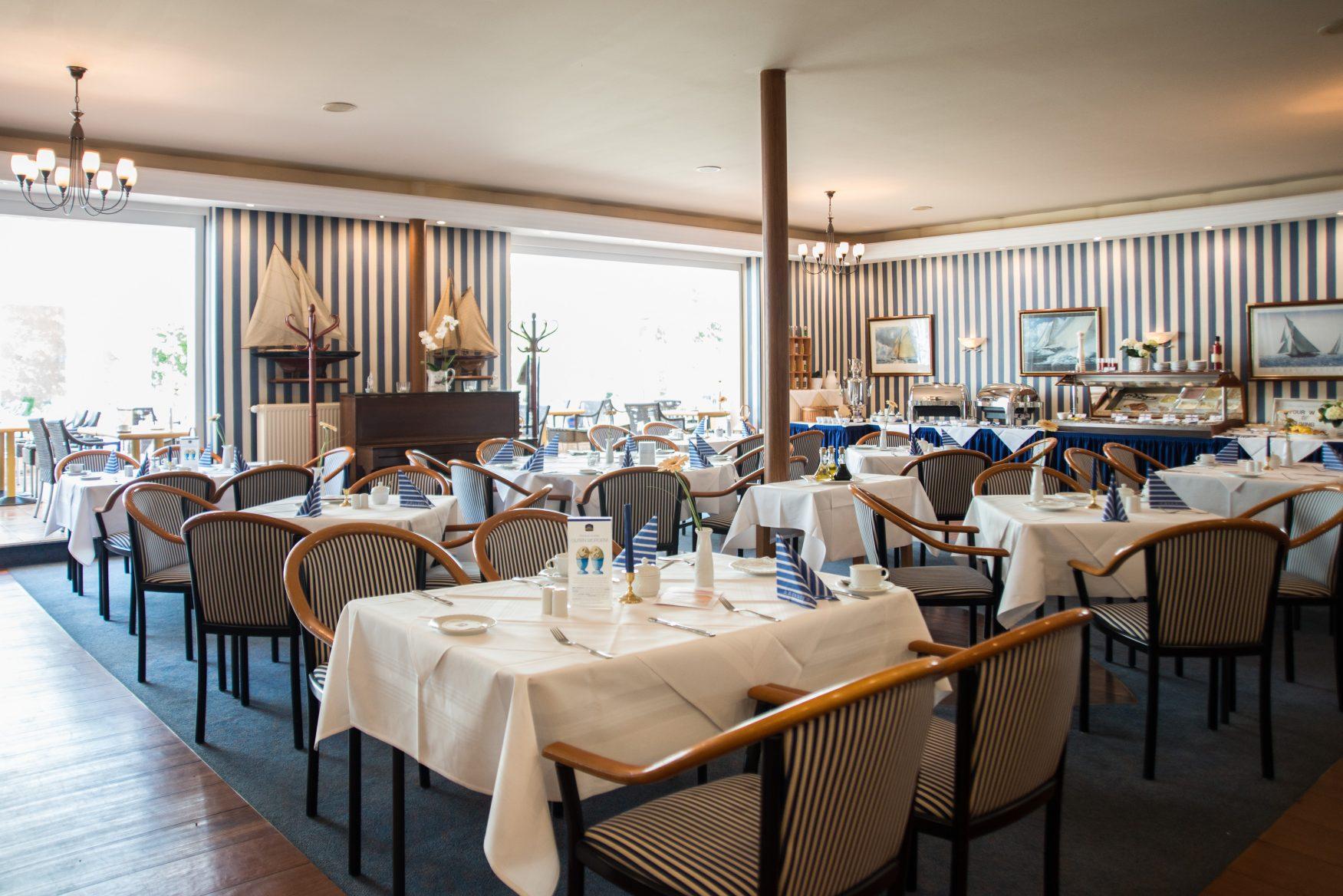 Blick in das Restaurant im Bootshaus Foto: Best Western Seehotel Frankenhorst