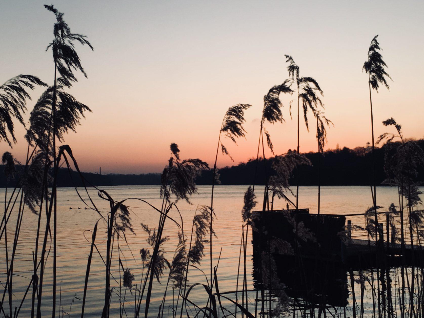 Sonnenuntergang am Ziegelaussensee von Schwerin, Foto: Weirauch