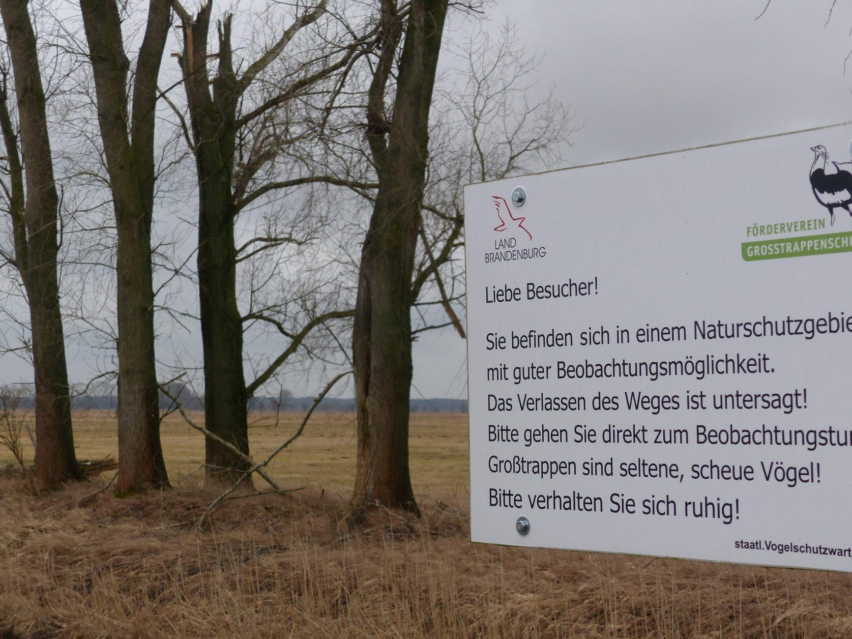 Großtrappen brauchen Ruhe, Hinweis auf dem Weg zum Beobachtungsturm Foto: Weirauch