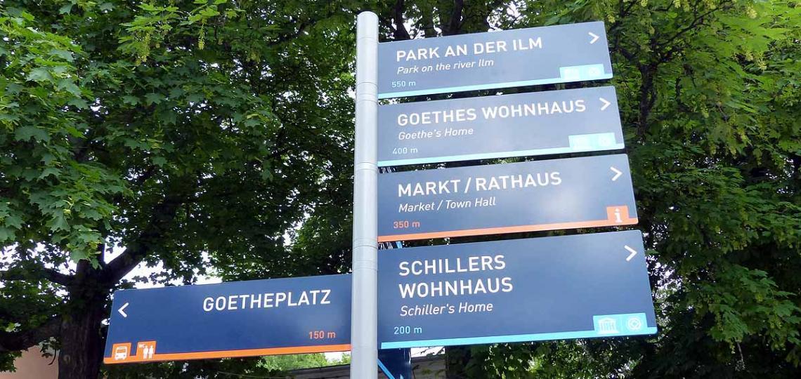 Weimar ist gut ausgeschildert