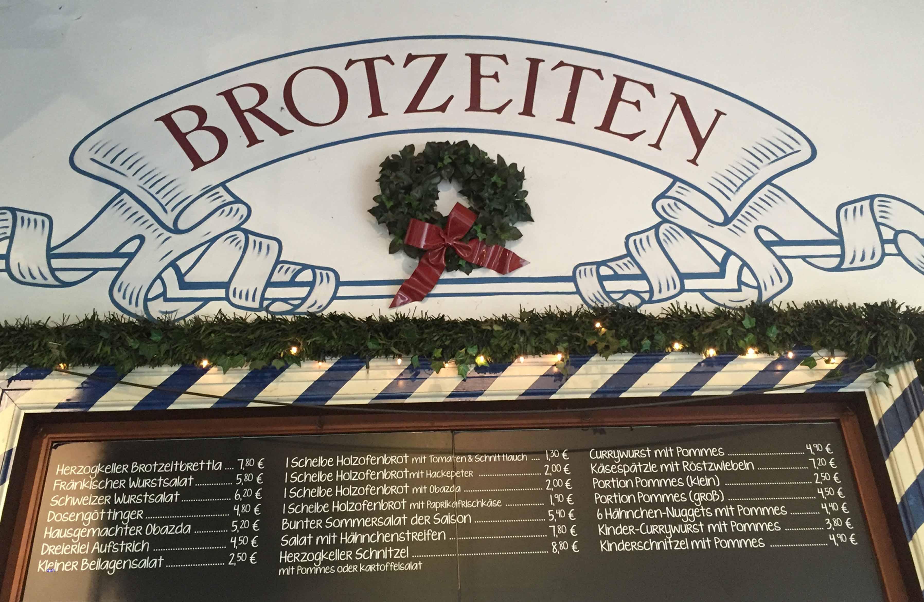 Brotzeit im Herzogkeller von Bayreuth