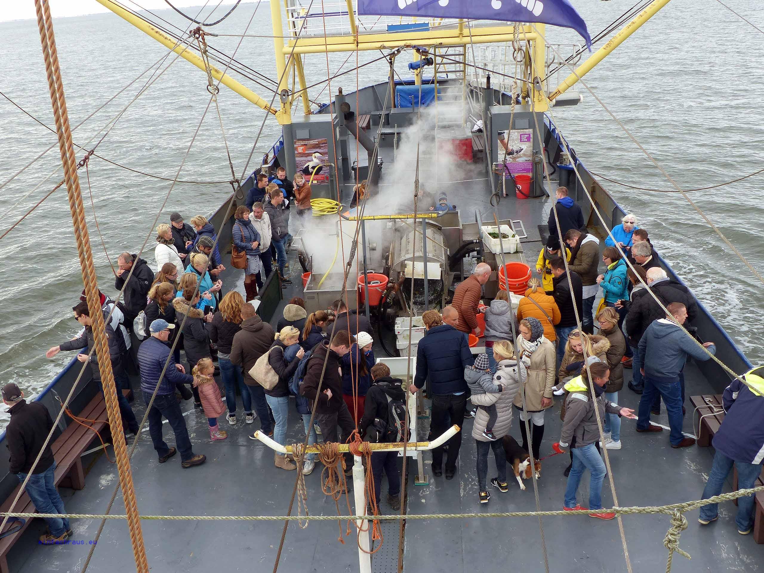 Staunende Zuschauer verfolgen die Arbeit der beiden Seeleute an Bord