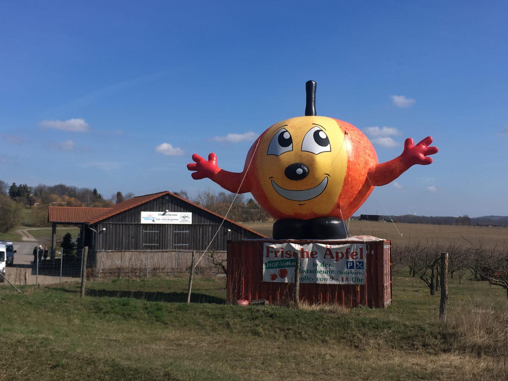 Der aufgeblasene Apfel weist den Weg zum Obstgut am Rande von Potsdam, Foto: D.Weirauch