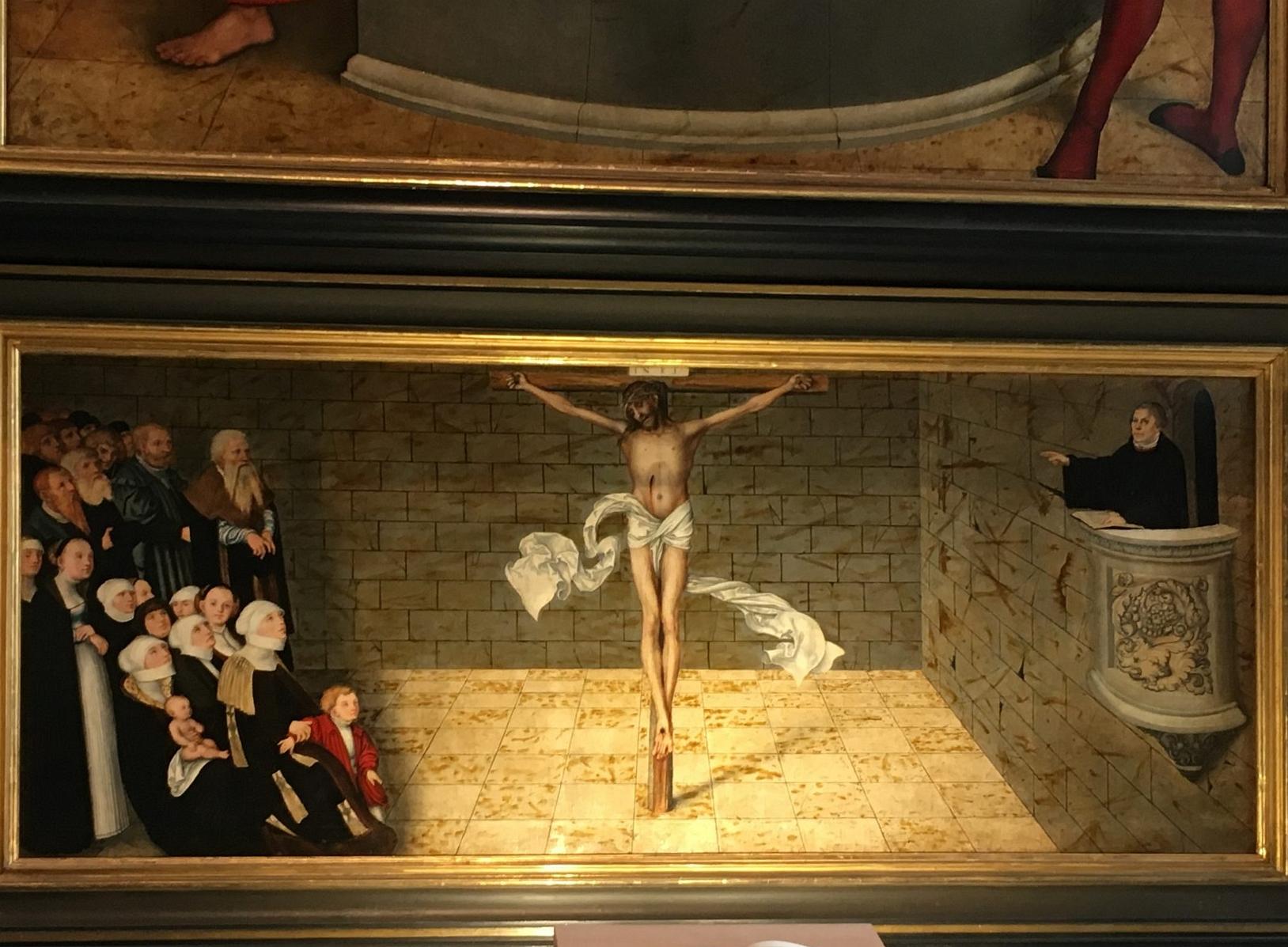 Martin Luther steht auf der Kanzel und predigt, Foto: D.Weirauch