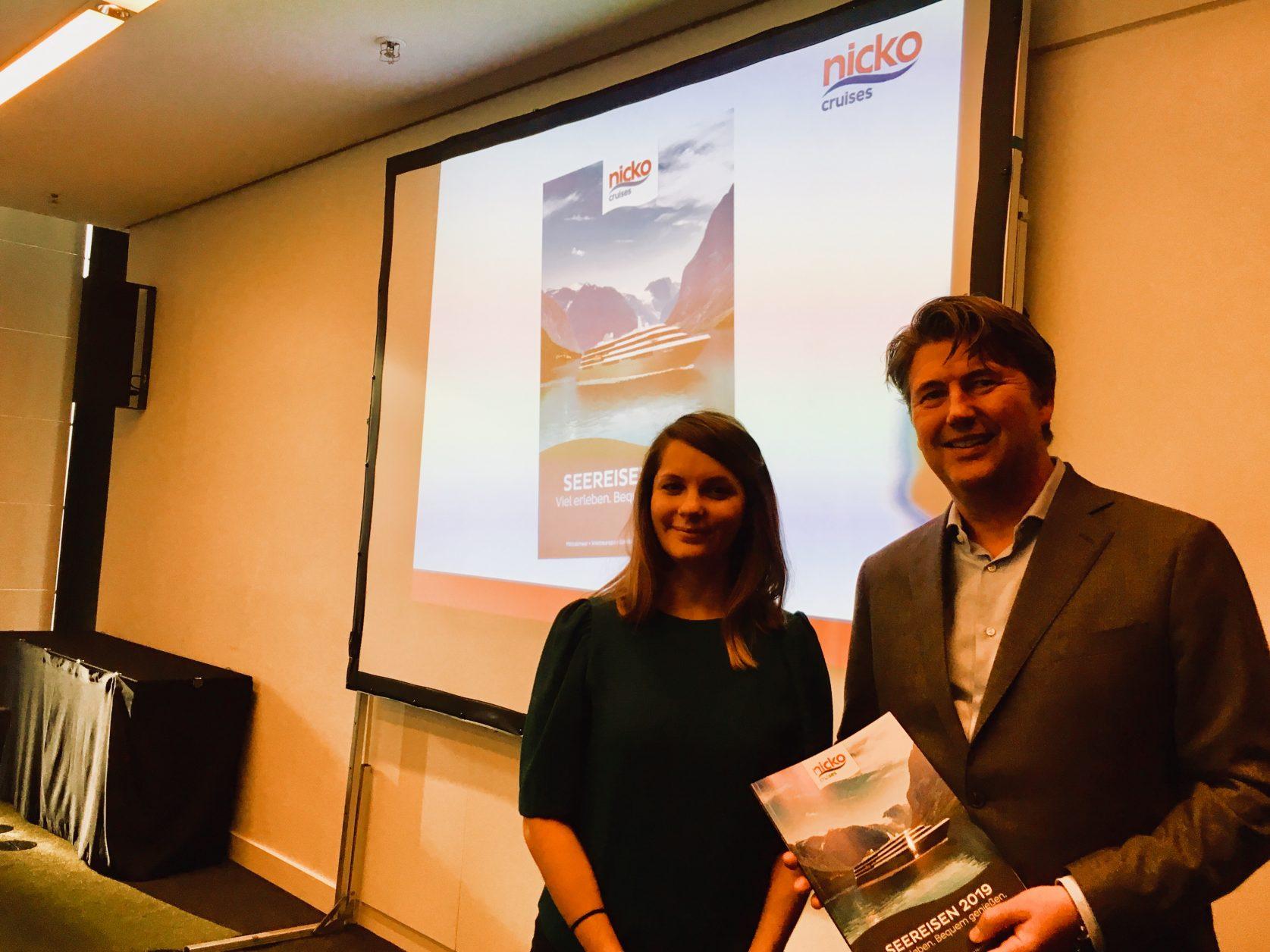 Sandra Hauck und Guido Laukamp von nicko cruises stellten in Hamburg den WORLD EXPLORER vor, Foto: Weirauch
