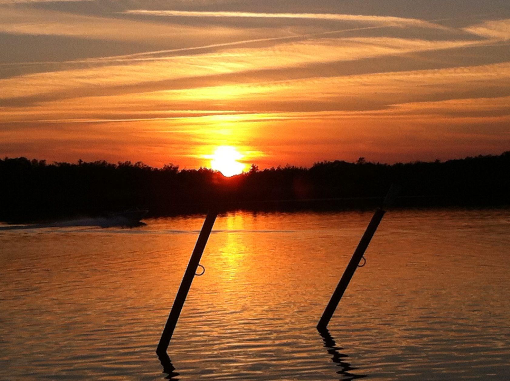 Sonnenuntergang am Schlänitzsee, Foto: D.Weirauch