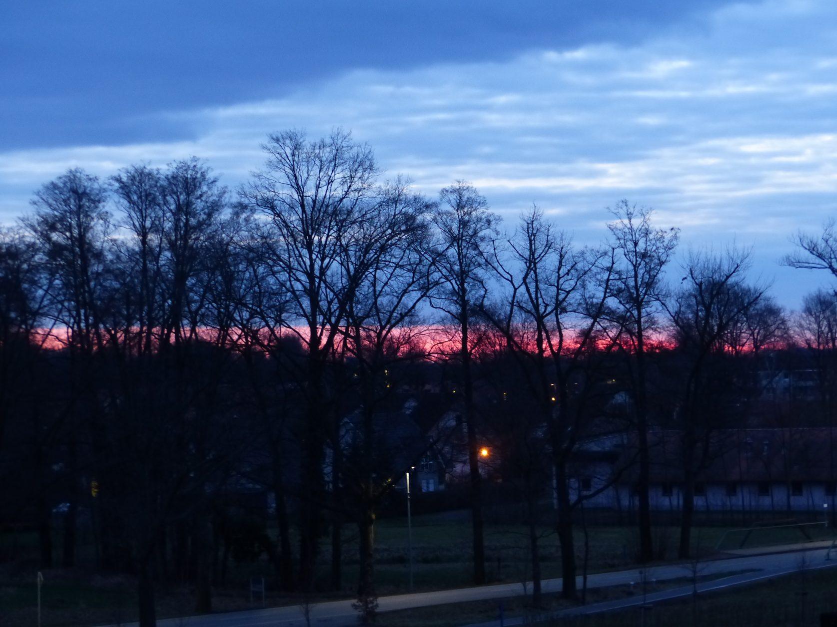 Sonnenaufgang vom Zimmer des Spreewald Thermenhotels aus, Foto: Weirauch