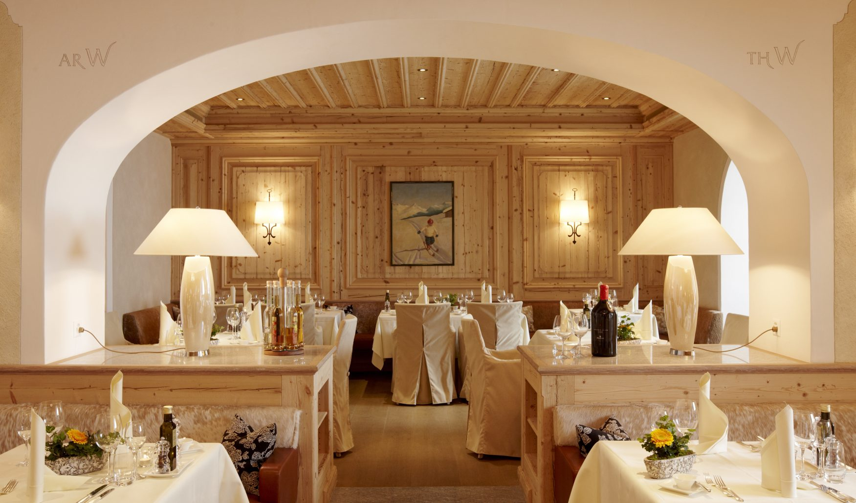 Blick in das Gourmetrestaurant Stueva im Hotel Walther in Pontresina, Foto: hotelwalther.ch