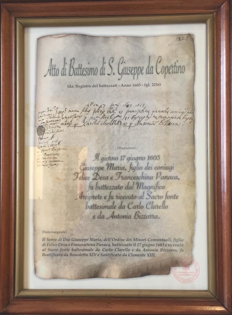 Geburtsurkunde für Josef von Copertino