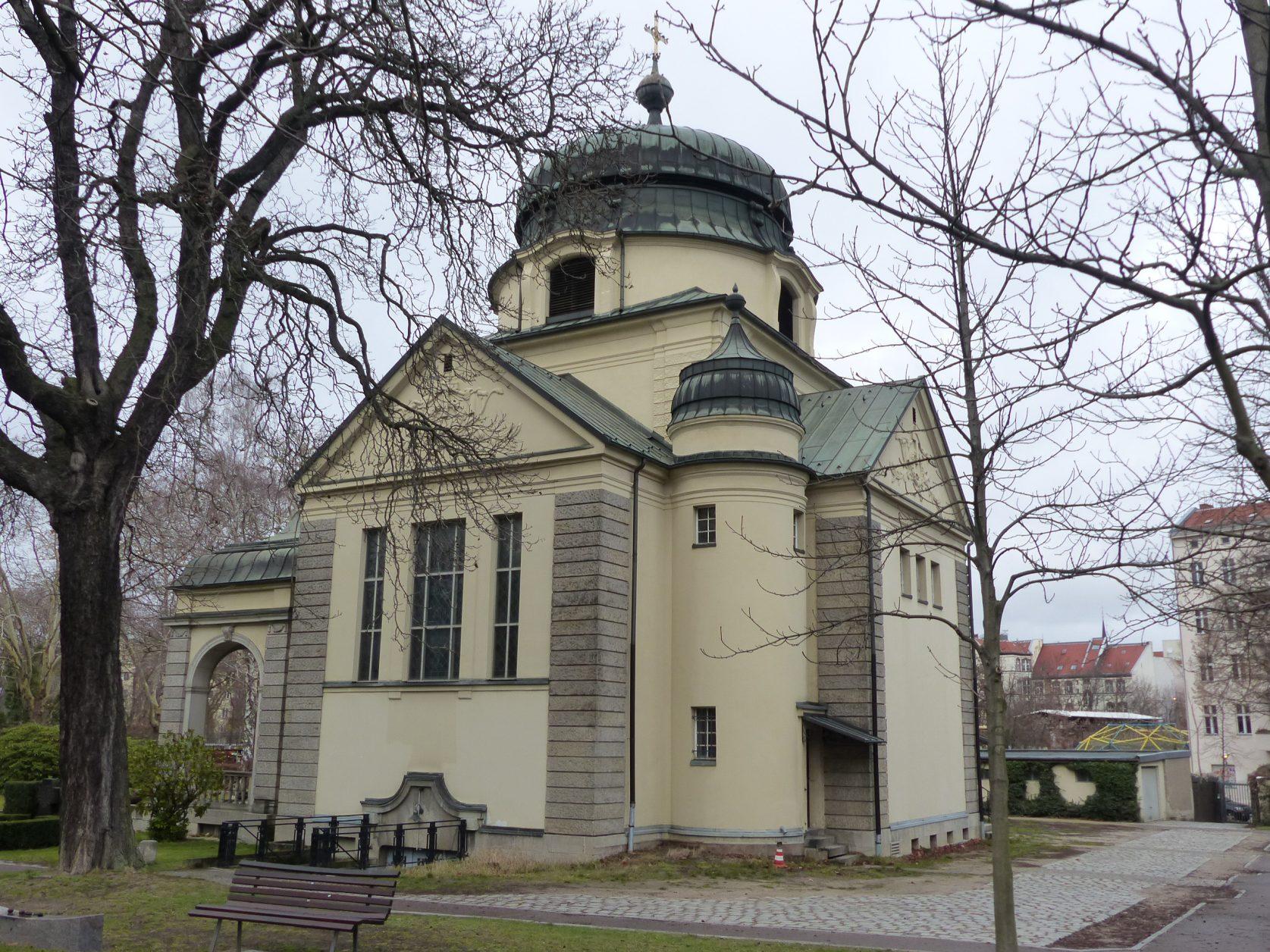 In den Jahren 1907/1908 entstand die von Gustav Werner entworfene Kapelle als Zentralbau mit Kuppel